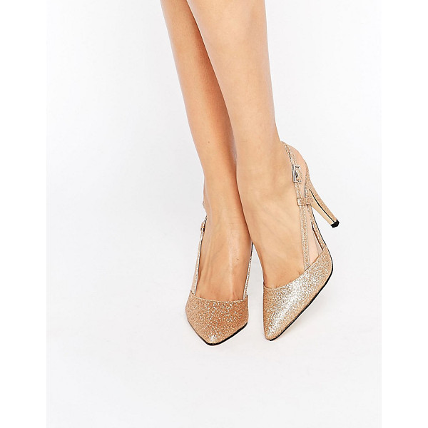 "TRUE DECADENCE Cut Out Sling Heeled Shoes - """"Shoes by True Decadence, Glitter flecked upper, Slip-on..."