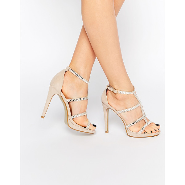 TRUE DECADENCE Nude Embellished Strap Heeled Sandals - Heels by True Decadence, Suede-look upper, Open toe, Pin...