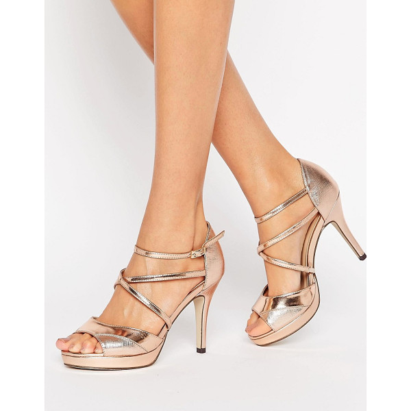 "TRUE DECADENCE Rose Gold Cross Strap Platform Heeled Sandals - """"Shoes by True Decadence, Faux-leather upper, Pin-buckle..."