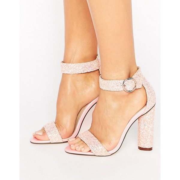 TRUFFLE COLLECTION Barely There Heel Sandal - Shoes by Truffle, Textile upper, Ankle-strap fastening,...