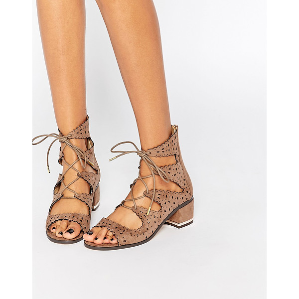 TRUFFLE COLLECTION Adley ghillie bootie heeled sandals - Shoes by Truffle. , F aux suede upper, Open toe design,...