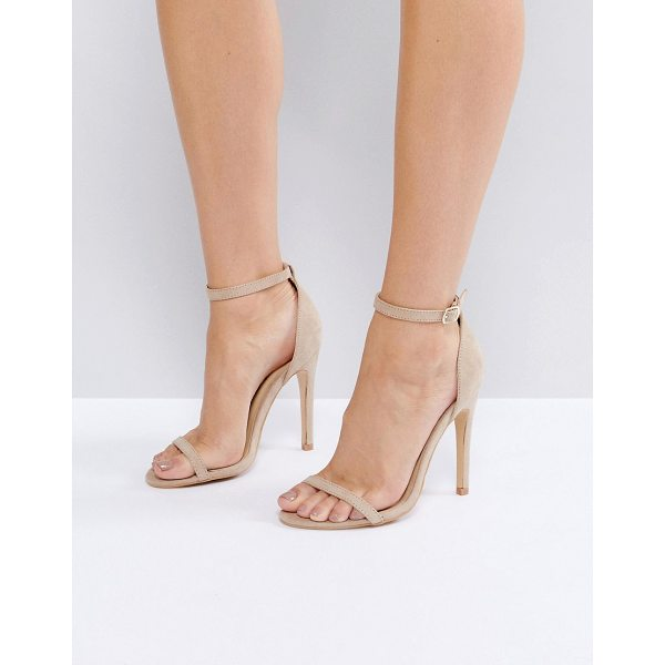 TRUFFLE COLLECTION Barely There Heel Sandals - Shoes by Truffle, Faux-suede upper, Ankle-strap fastening,...