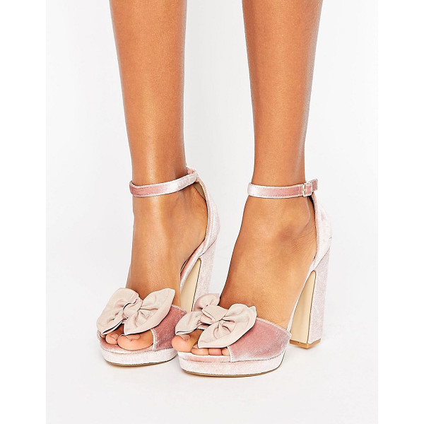 TRUFFLE COLLECTION Bow Trim Velvet Platform Sandal - Shoes by Truffle, Textile upper, Ankle-strap fastening, Bow