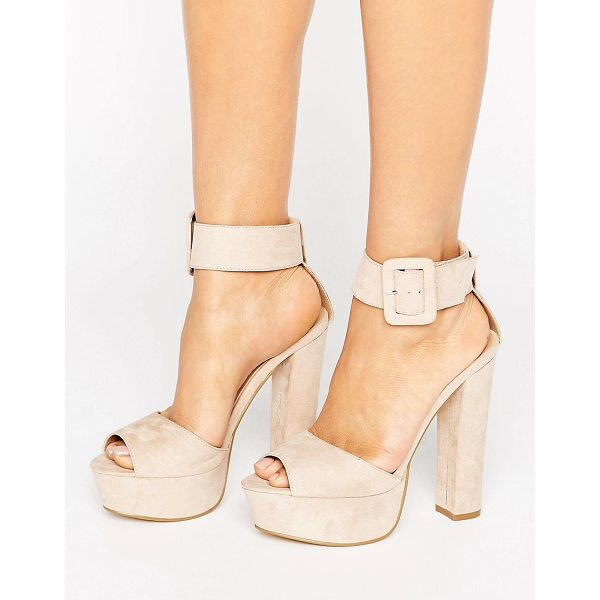 """TRUFFLE COLLECTION Buckle Trim Platform Sandal - """"""""Shoes by Truffle, Faux-suede upper, Ankle-strap..."""