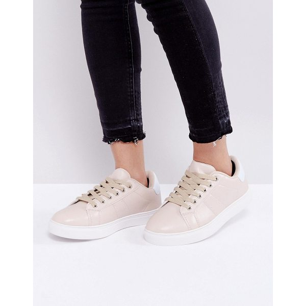 TRUFFLE COLLECTION Clean Contrast Sole Sneakers - Shoes by Truffle, Faux-leather upper, Lace-up fastening,...