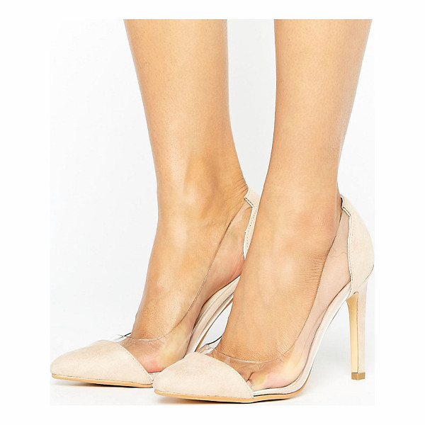 """TRUFFLE COLLECTION Clear Upper Heel Shoe - """"""""Shoes by Truffle, Faux-suede upper, Slip-on style, Clear"""