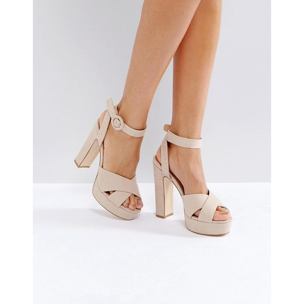 TRUFFLE COLLECTION Cross Strap Platform Sandals - Shoes by Truffle, Textile upper, Ankle-strap fastening,...