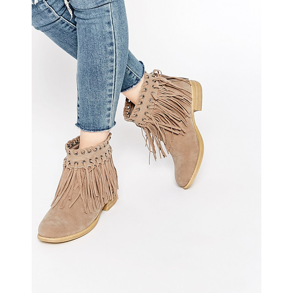 TRUFFLE COLLECTION Frolly Fringe Ankle Boots - Shoes by Truffle Collection, Suede-look upper, Slip-on...