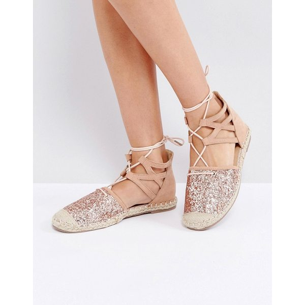 TRUFFLE COLLECTION Glitter Lace Up Espadrille - Shoes by Truffle Collection, Faux-suede upper, Glitter...