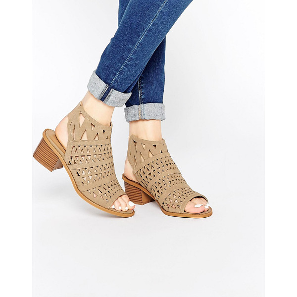 TRUFFLE COLLECTION Honor Laser Cut Sling Bootee Heeled Sandals - Shoes by Truffle Collection, Suede-look upper, Slip-on...