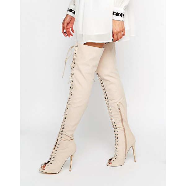 TRUFFLE COLLECTION Lace Up Ghillie Over The Knee Boots - Shoes by Truffle, Faux leather upper, Over-the-knee design,...