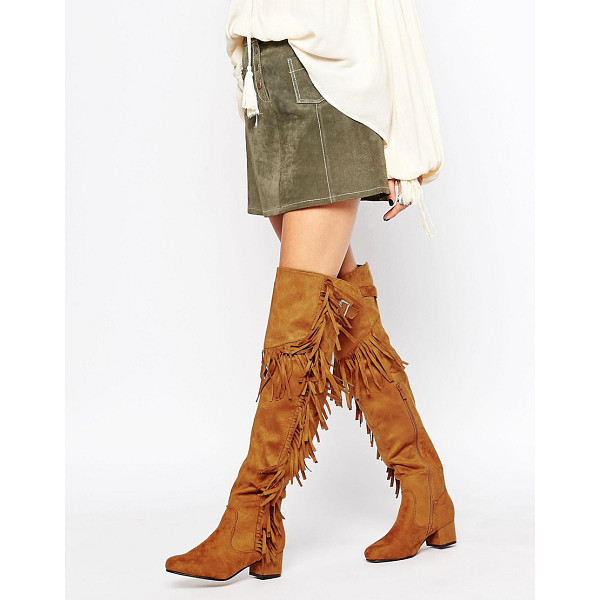 TRUFFLE COLLECTION Luan fringe block heeled over the knee boots - Shoes by Truffle Collection, Suede-look upper,...