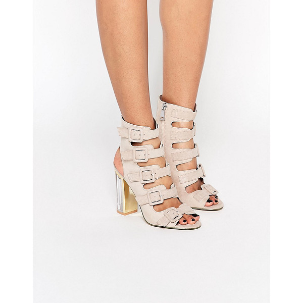 TRUFFLE COLLECTION Multi Buckle High Heeled Sandal - Shoes by Truffle, Faux suede upper, Side zip opening, Pin...