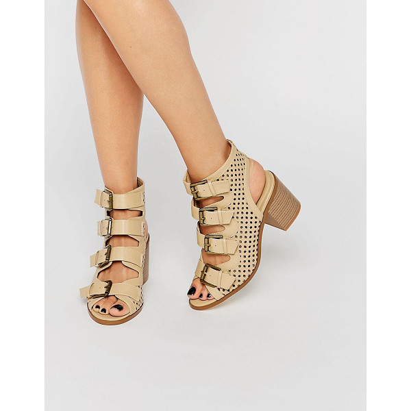 TRUFFLE COLLECTION Multi Buckle Kitten heel Sandal - Shoes by Truffle, Faux leather upper, Pin buckle ankle...