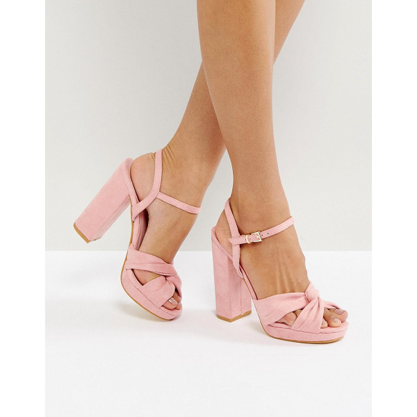 TRUFFLE COLLECTION Soft Knot Front Platform Sandal - Shoes by Truffle, Faux-suede upper, Knot front, Ankle-strap...
