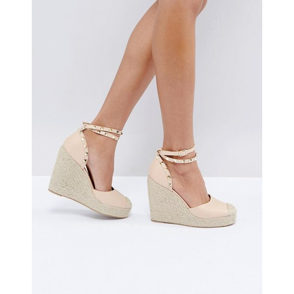 TRUFFLE COLLECTION Studded Ankle Strap Heeled Espadrilles - Heels by Truffle, Faux-leather upper, Ankle-strap...