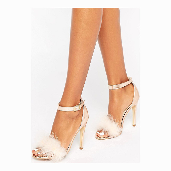 TRUFFLE COLLECTION Truffle Faux Feather Trim 2 Part Sandals - Shoes by Truffle, Metallic upper, Ankle-strap fastening,...
