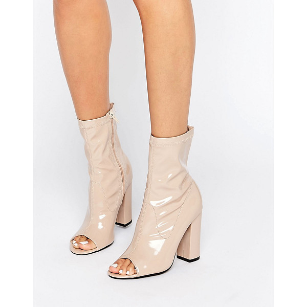 TRUFFLE COLLECTION Truffle Peep Toe Boots - Shoes by Truffle, Faux-leather upper, Patent finish, Side...
