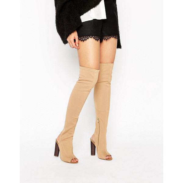 TRUFFLE COLLECTION Truffle Peep Toe Over The Knee Boot - Shoes by Truffle, Faux-leather upper, Side zip fastening,...