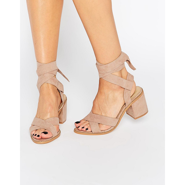 TRUFFLE COLLECTION Tie Ankle Kitten heel Sandals - Heels by Truffle, Faux suede upper, Ankle tie-around...
