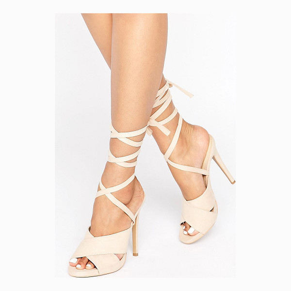 TRUFFLE COLLECTION Truffle Tie Ankle Rita Heeled Sandals - Shoes by Truffle, Textile upper, Tie ankle-strap fastening,