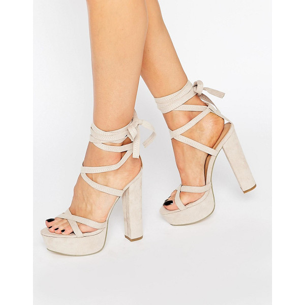 TRUFFLE COLLECTION Truffle Tie Up Block Heel Sandal - Heels by Truffle, Faux suede upper, Ankle tie-around