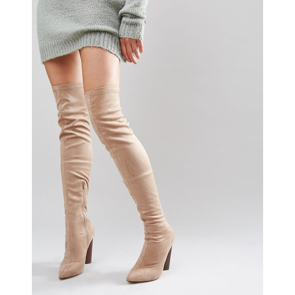 TRUFFLE COLLECTION Truffle Wham Over The Knee Stretch Boot - Shoes by Truffle, Faux-suede upper, Over-the-knee design,