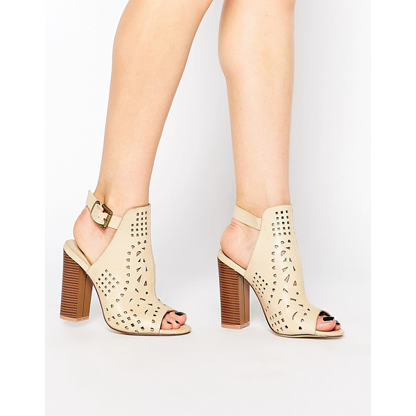 TRUFFLE COLLECTION Vela Cut Out Heeled Sandals - Shoes by Truffle Collection, Leather-look upper, Peep toe,...