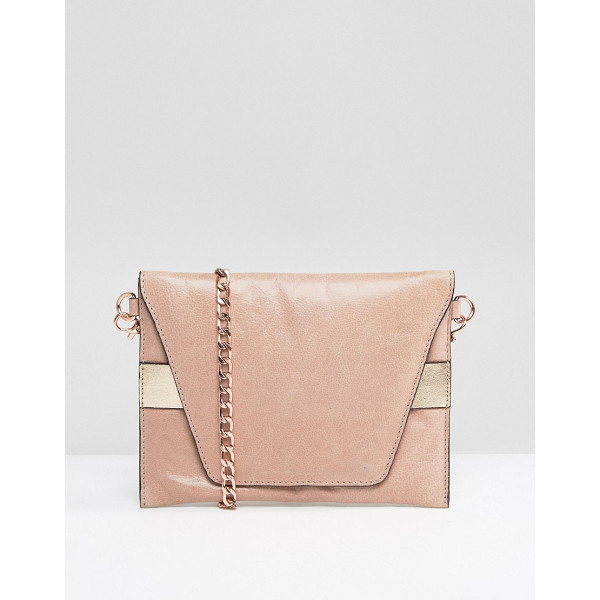 URBANCODE Real Leather Cross Body Bag with Rose Gold Band - Cart by Urbancode, Leather outer, Fabric lining, Chain...