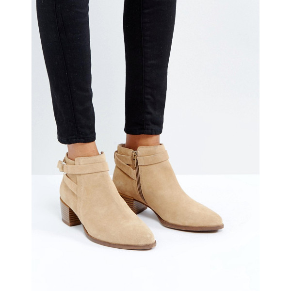 VAGABOND Emira Beige Suede Ankle Boots - Boots by Vagabond, Suede upper, Side-zip opening, Buckle...