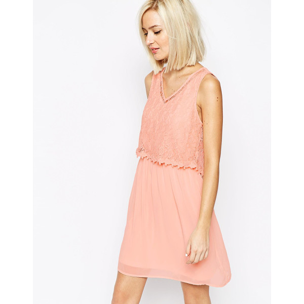 VERO MODA Lace detail dress - Dress by Vero Moda, Lined chiffon, Floral lace overlay to...