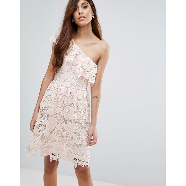 "VERO MODA Lace One Shoulder Dress - """"Lace dress by Vero Moda, Lined cutwork lace, Asymmetric..."