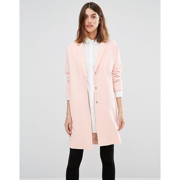 VERO MODA Slouchy Duster Coat - Coat by Vero Moda, Lined crepe, Notch lapels, Press-stud...