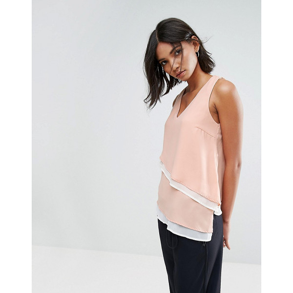 VERO MODA V Neck Top With Asymmetric Hem - Top by Vero Moda, Woven fabric, Layered design, V-neck,...