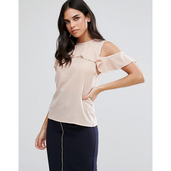 VESPER Cold Shoulder Top With Frill Detail - Top by Vesper, Stretch woven fabric, Crew neck,...