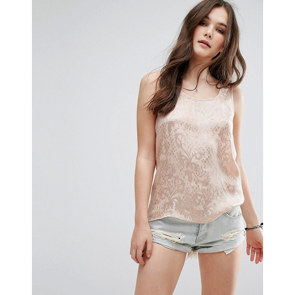 VILA Burnt Out Tank Top - Top by Vila, Woven lace fabric, Scoop neck, Regular fit -...