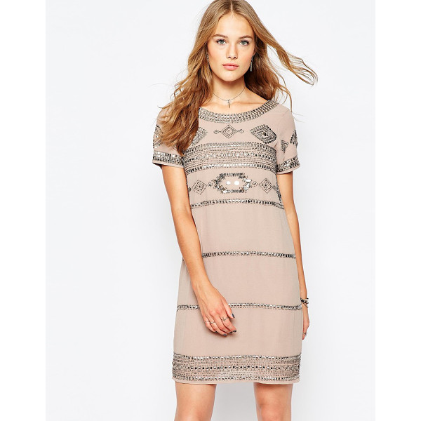 VILA Embellished Shift Dress - Dress by Vila, Smooth woven fabric, Boat neckline, Bead and...