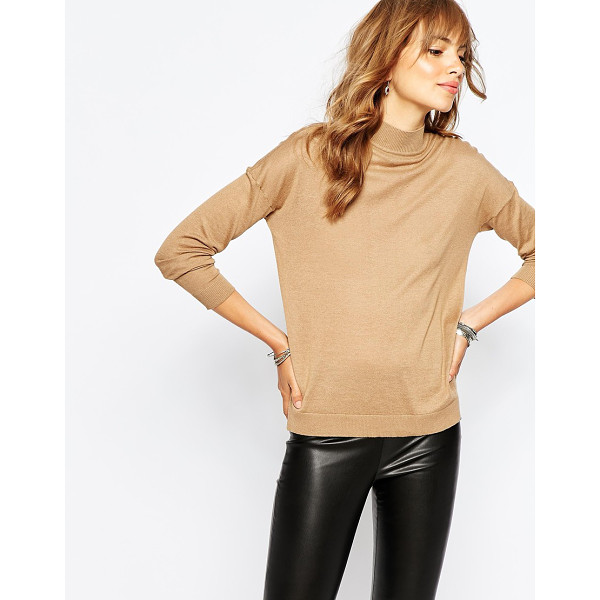 VILA Fine knit roll neck sweater - Sweater by Vila Cotton-mix fabric High round neckline...