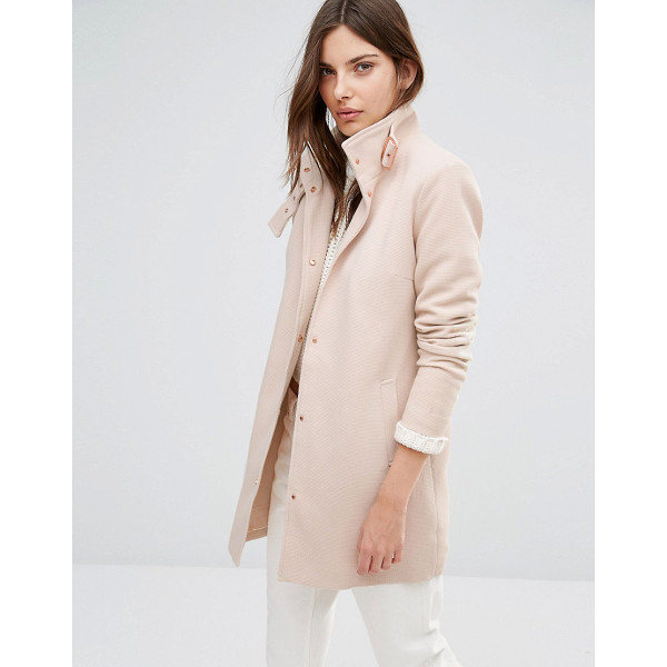 VILA Funnel Neck Coat - Coat by Vila, Textured woven fabric, Lined with internal...