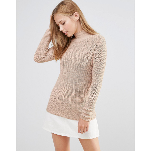 VILA High Neck Knit Sweater in Tan - Sweater by Vila, Soft-touch chunky knit, High neckline,...