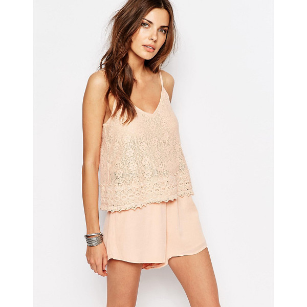 VILA Lace Double Layer Romper - Romper by Vila, Lightweight woven fabric, Cropped lace...