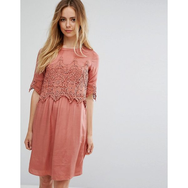 "VILA Lace Overlay Dress - """"Casual dress by Vila, Lightweight fabric, Crew neck, Lace..."