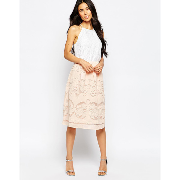 VILA Laser cut midi skirt - Skirt by Vila Mid-weight woven fabric Lined design Stretch...