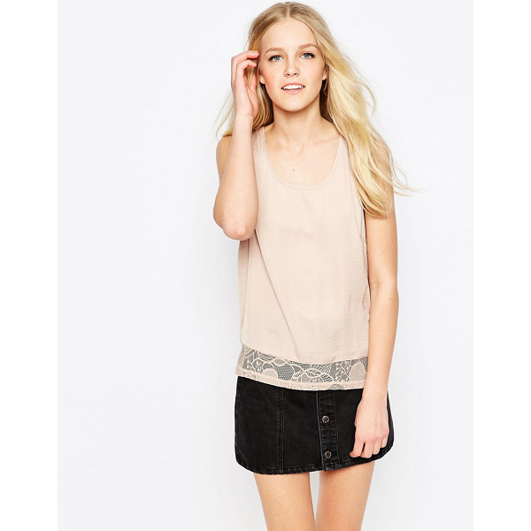 VILA Mella Lace Trim Sleeveless Top - Top by Vila, Smooth woven fabric, Scoop neckline, Lace...