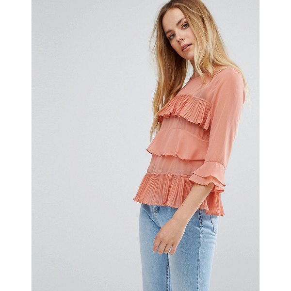 "VILA Ruffle Layered Blouse - """"Blouse by Vila, Woven fabric, Semi-sheer finish, Crew..."
