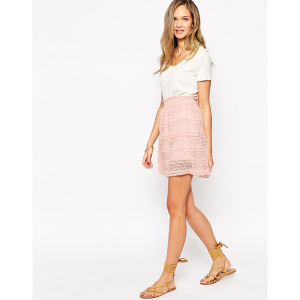 VILA Skirt with embroidered overlay - Skirt by Vila Semi-sheer embroidered lace Opaque underlay...