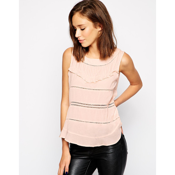 VILA Sleeveless top with cut out detail - Top by Vila Lightweight semi sheer fabric Boat neckline...