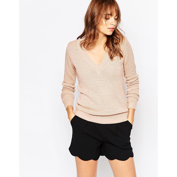 VILA V neck knit sweater - Sweater by Vila Wool-mix knit Textured finish V-neckline...