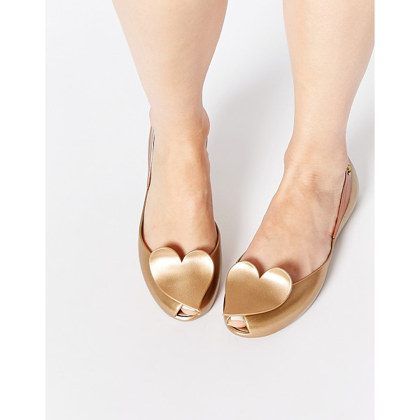 VIVIENNE WESTWOOD For melissa queen gold heart flat shoes - Flat shoes by Vivienne Westwood For Melissa Recyclable...