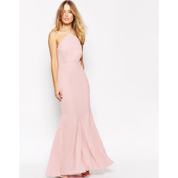 VLABEL LONDON Halterneck maxi dress with fluted hem - Maxi dress by VLabel London Lined chiffon Slimline straps...